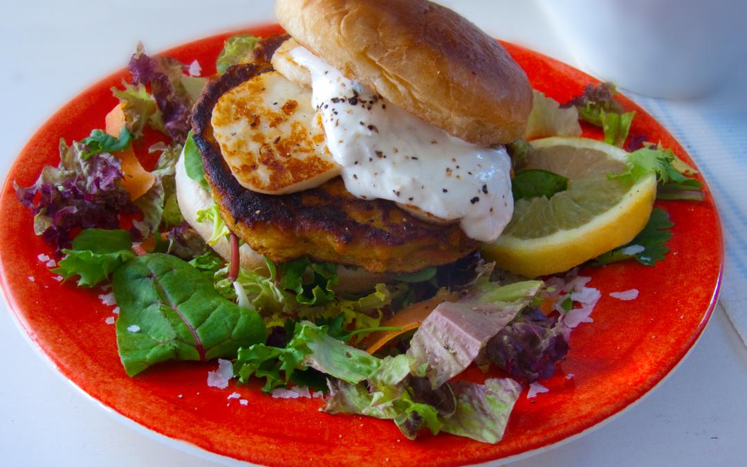 Carrot Burgers With Creamy Lemon Yogurt Dressing